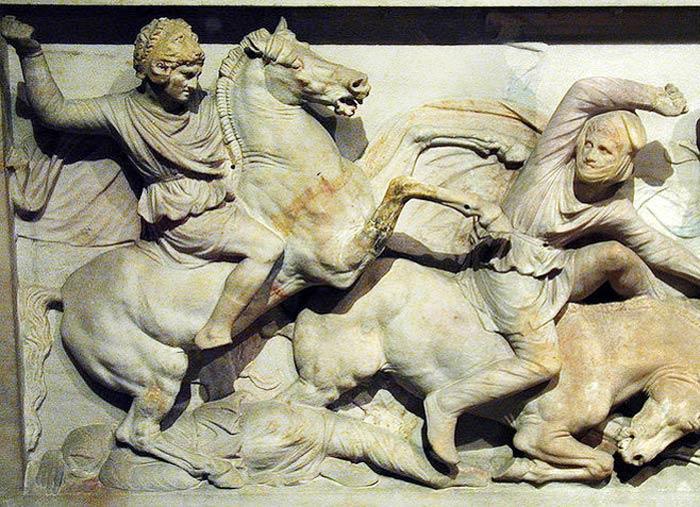 Олександр Македонський на «Саркофазі Олександра» зі Стамбульського музею археології