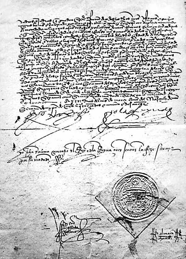 Остання сторінка Альгамбрського едикту з печаткою і підписами короля Фердинанда Католика і королеви Ізабелли Кастильської © Муніципальний архів міста Авіла, Іспанія