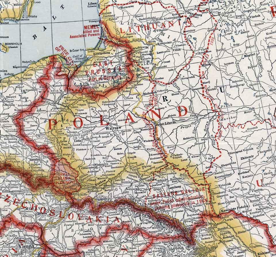 Фрагмент американської «Карти Європи з країнами, заснованими Паризькою мирною конференцією» 1920 року. На ній показана у тому числі лінія 8 грудня 1919 року та мандат Польщі на Східну Галичину до 1944 року