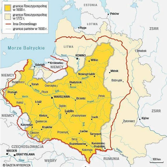 Лінія Дмовського (червоним), територія Речі Посполитої 1772-го (бежевим) та 1938 року (жовтим). Сучасна карта з «Газети Виборчої»