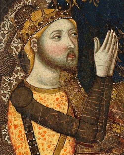Енріке, граф Трастамара, на картині «Богородиця Тобіда» Хайме Серра, бл. 1360 року © Музей Прадо, Мадрид