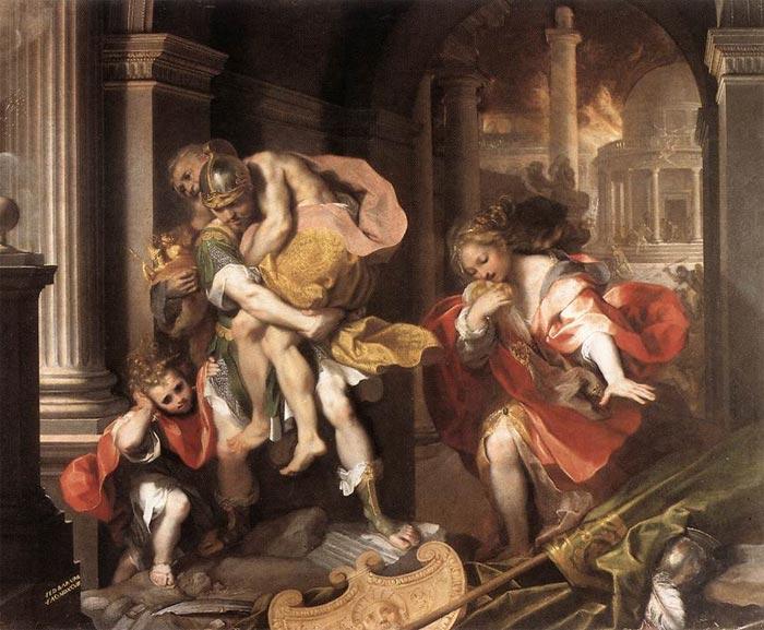 Федеріко Бароччі «Втеча Енея з Трої. Еней несе свого старого батька Анхіза», 1598 рік