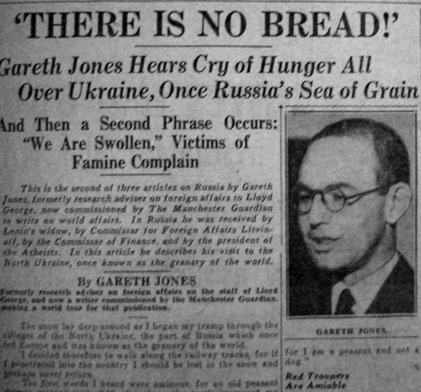 Стаття Ґарета Джоунса в «The London Evening Standard» за 31 березня 1933 року