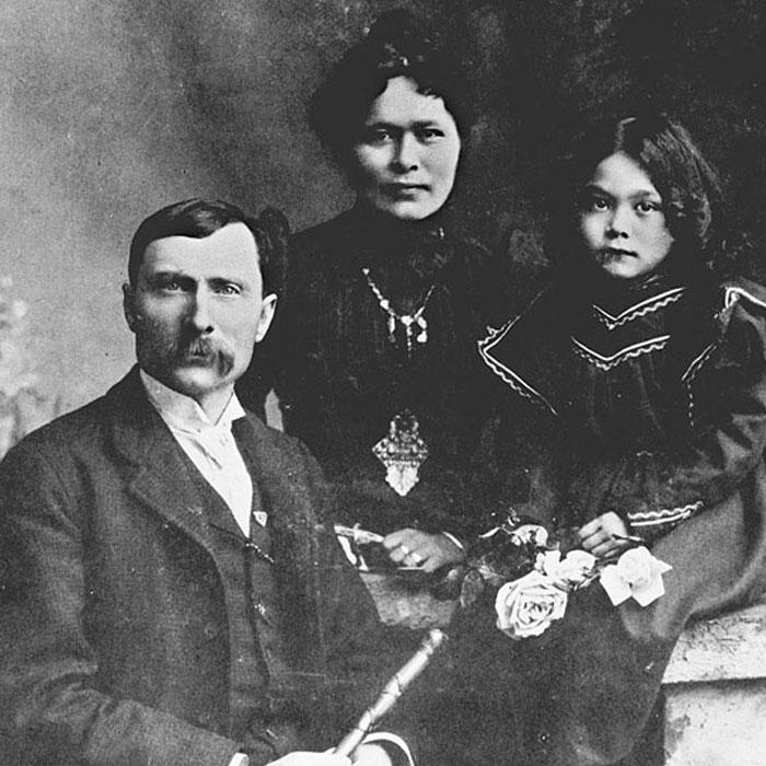 Джордж Кармак з дружиною Кейт і дочкою Грейс, 1898 рік