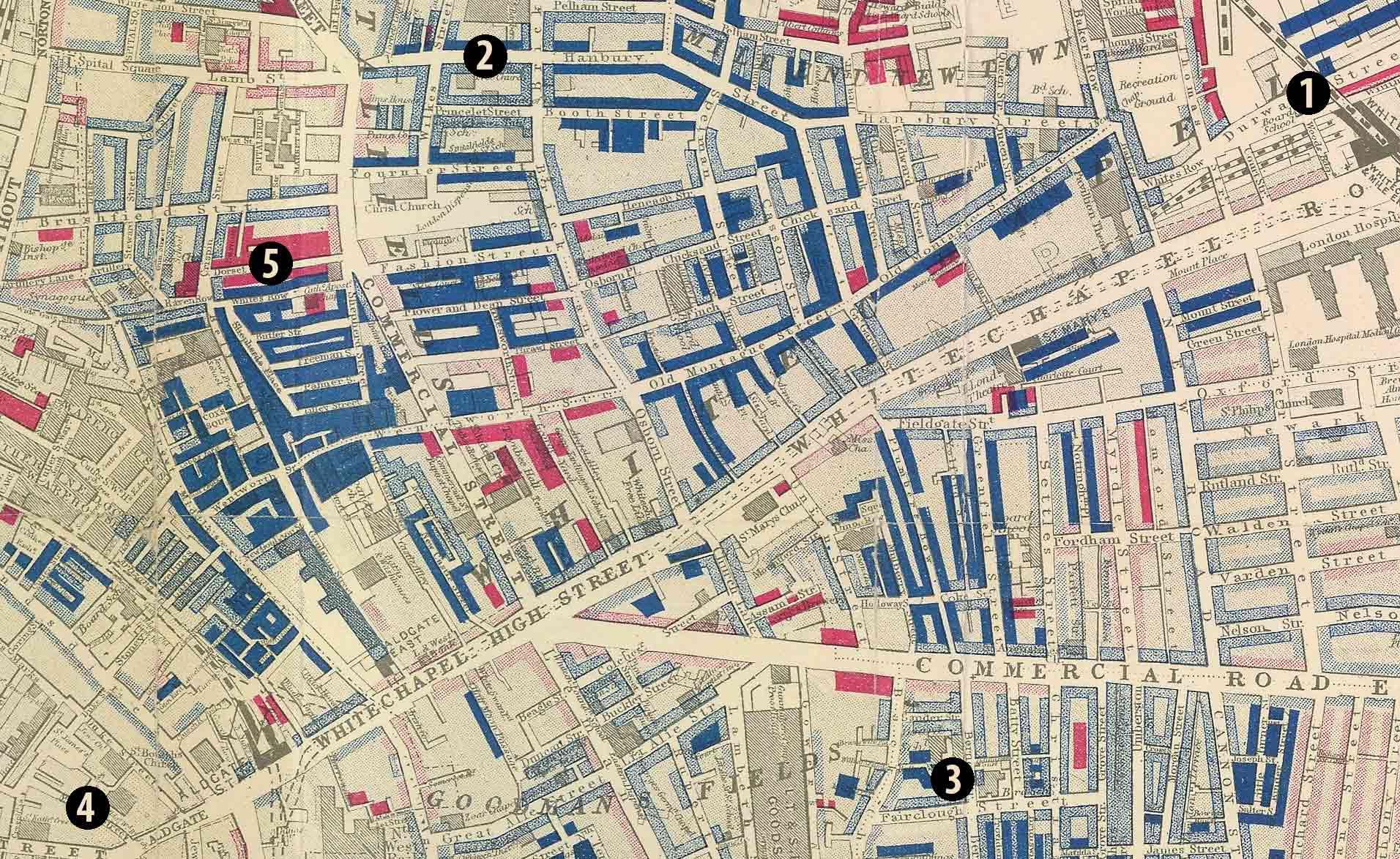 Карта району Іст-Енд, 1889 рік. Синіми прямокутниками позначено розселення єврейської громади (інтенсивність заштриховки пропорційна відсотку їх присутності) © The Map House