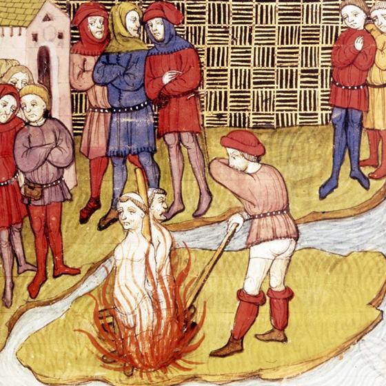 Спалення Жака де Моле на вогнищі на острові Сіте (Париж). Картина з літопису XIV ст.