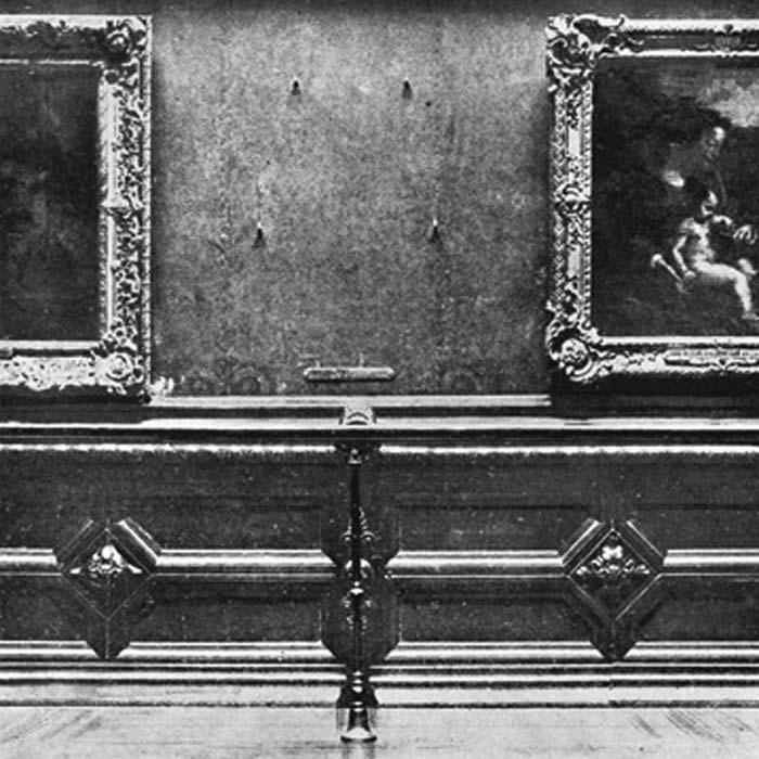 Місце на стіні залу Лувру, звідки була вкрадена «Джоконда»