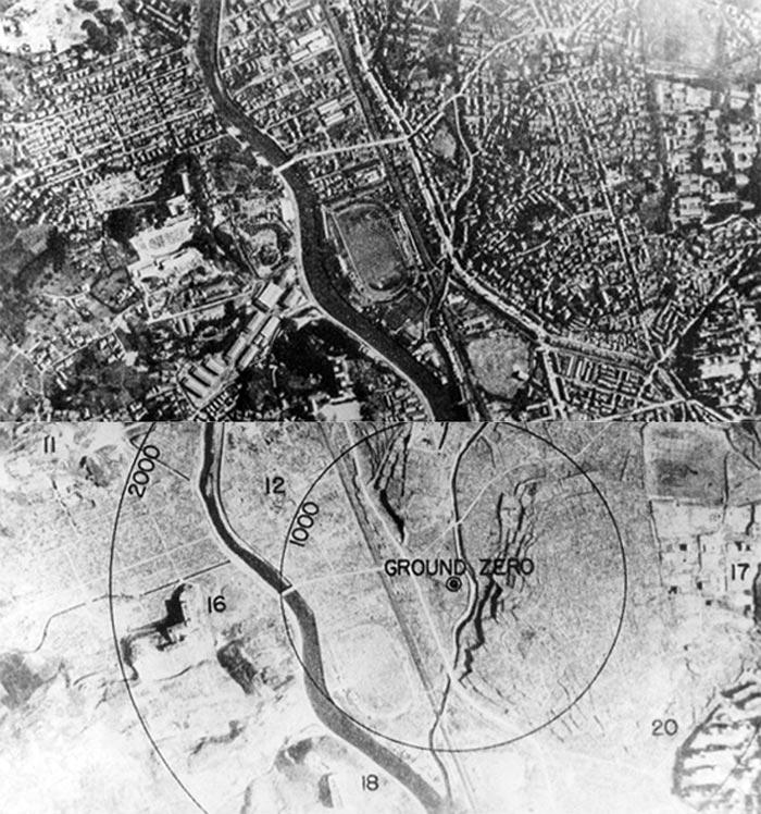 Нагасакі до і після ядерного вибуху