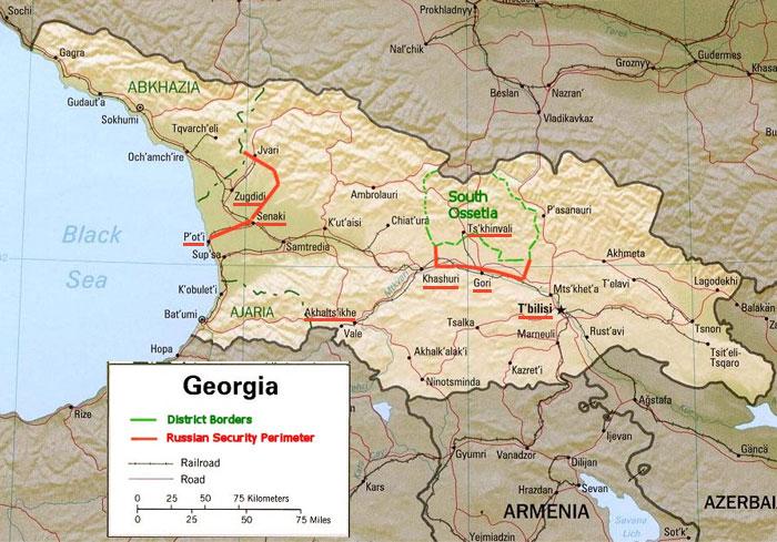 Карта-схема бойових подій Російсько-грузинської війни