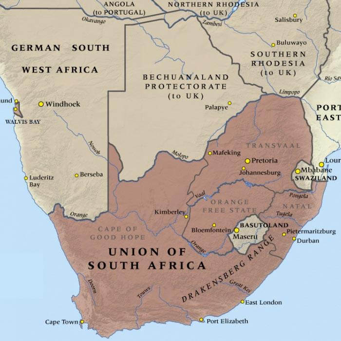 Південно-Африканський Союз в 1914 році: площа - 2 045 000 кв. км, населення - 6 мл чол., столиці - Преторія (адміністративна), Пітермаріцбург (фінансова), Кейптаун (законодавча), Блумфонтейн (судова)